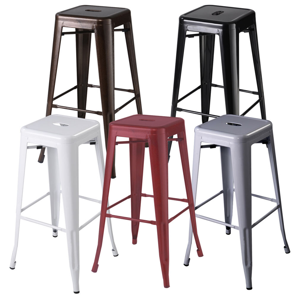 Set of 2 metal steel bar stools vintage antique style for Counter bar stools