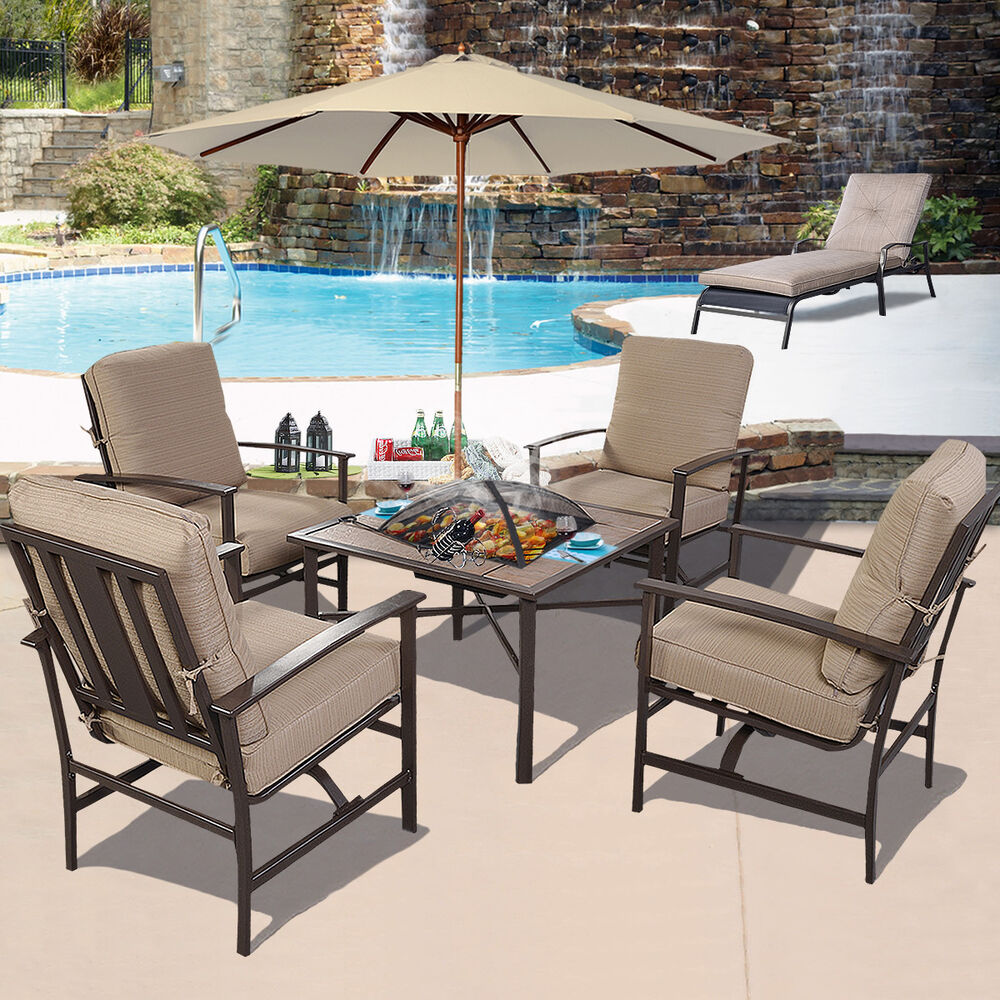 5 pcs patio furniture set chair bbq stove fire pit 9ft for Patio furniture sets with umbrella