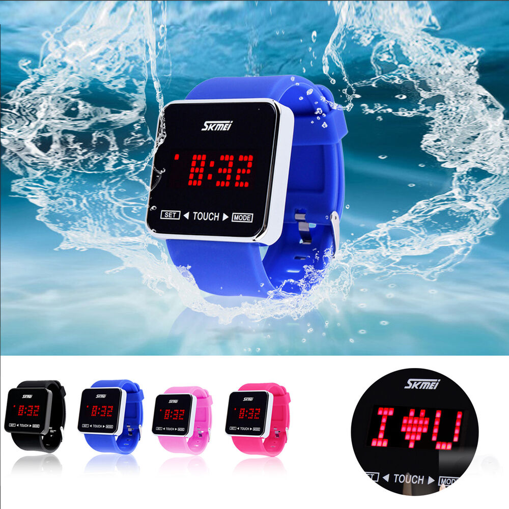 kids led digital date time sport silicone touch screen waterproof wrist watch ebay. Black Bedroom Furniture Sets. Home Design Ideas
