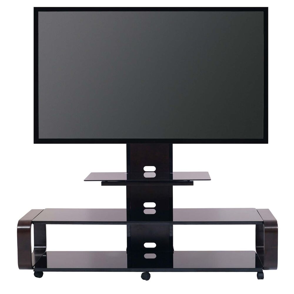transdeco tv stand w universal mount wheels for 40 50 60 65 70 80 lcd led tv ebay. Black Bedroom Furniture Sets. Home Design Ideas