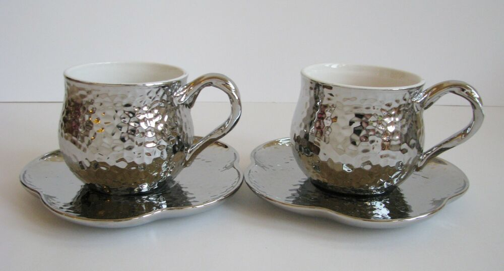 2 Set Of 2 Pc Luxehabita Silver Reflective Ceramic Tea