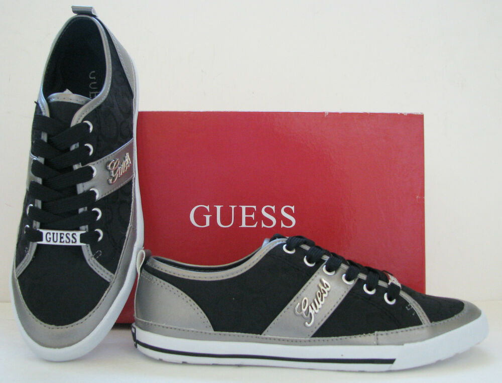 new guess briar black logo pewter leatherette silver sport