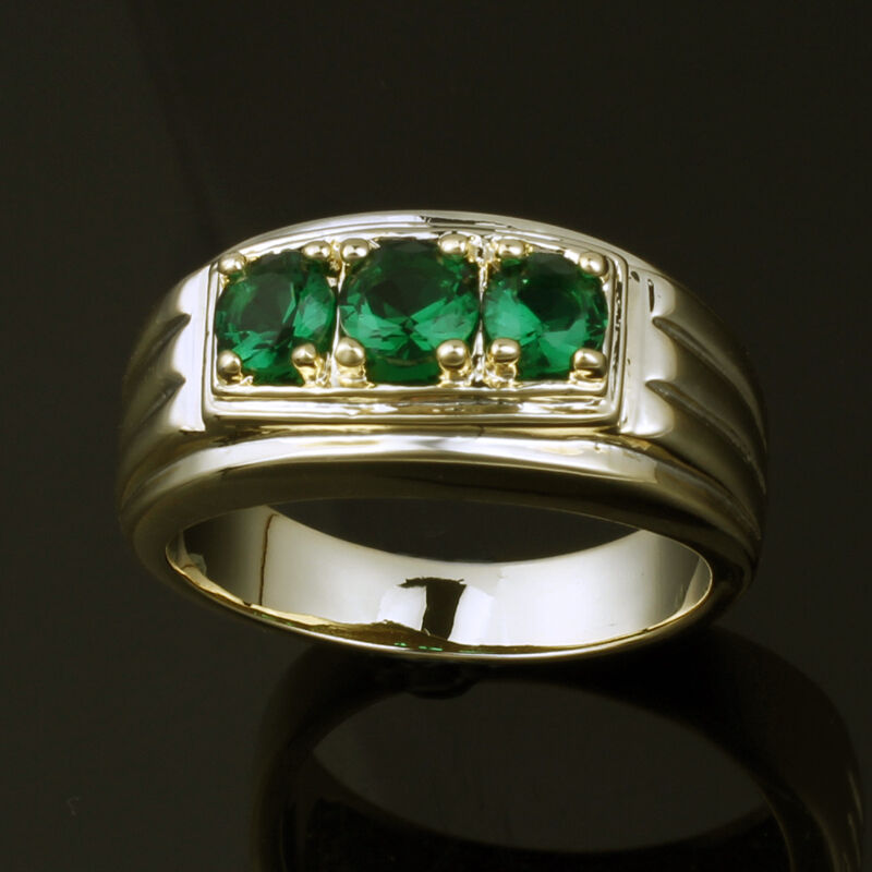 Gold Plated 3 Stone Simulated Green Emerald Men Ring Size