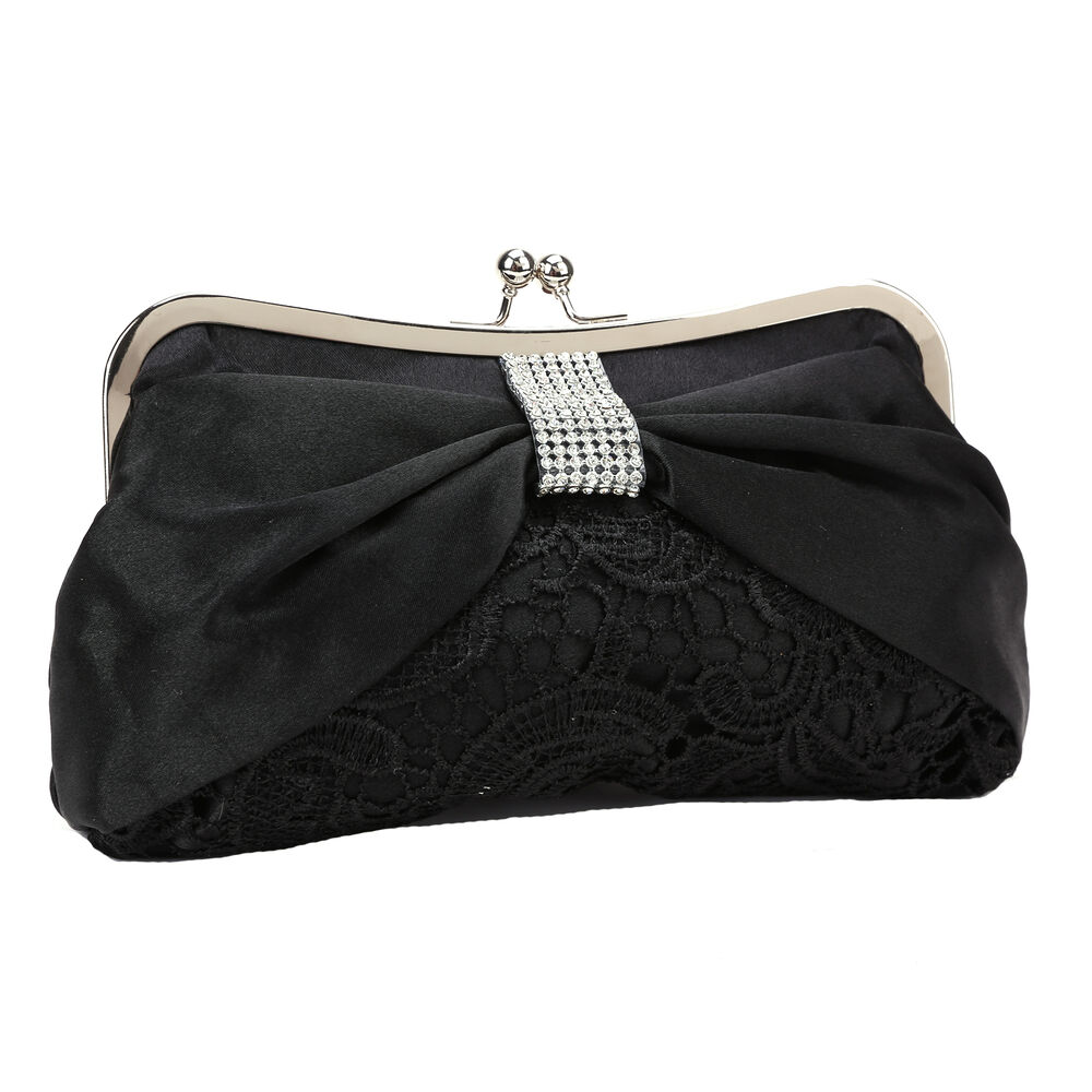 ... Satin Bow Lace Clutch Bag Wedding Evening Purse Bag Black | eBay