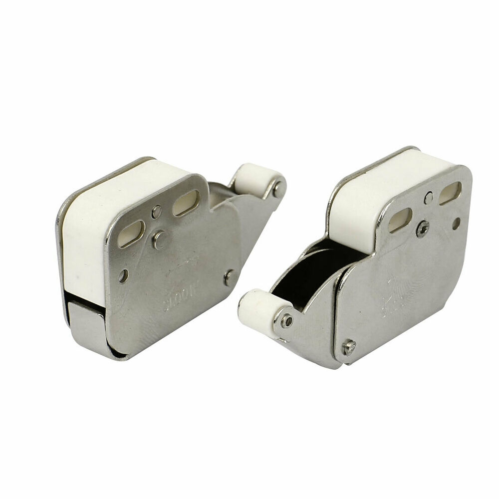 push to open one touch wardrobe cabinet cupboard door catch latch 48mm long 2pcs ebay. Black Bedroom Furniture Sets. Home Design Ideas