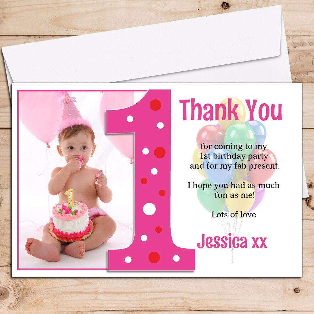 10 Personalised Girls 1st First Birthday Thank You PHOTO