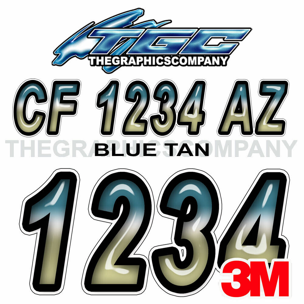 Blue tan custom boat registration number decals vinyl for Window cling letters and numbers