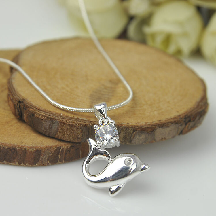 925 Sterling Silver Plated Fashion Women Dolphin Pendant