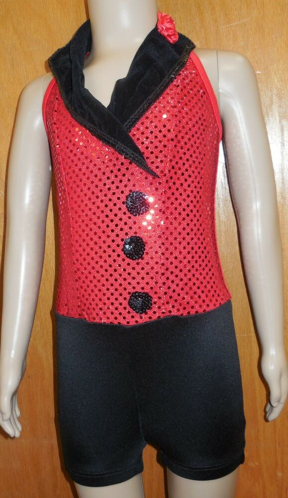NWT Tap Costume Shorty Unitard Red Faux Sequin Black Lapels hot shorts ch/adult | eBay