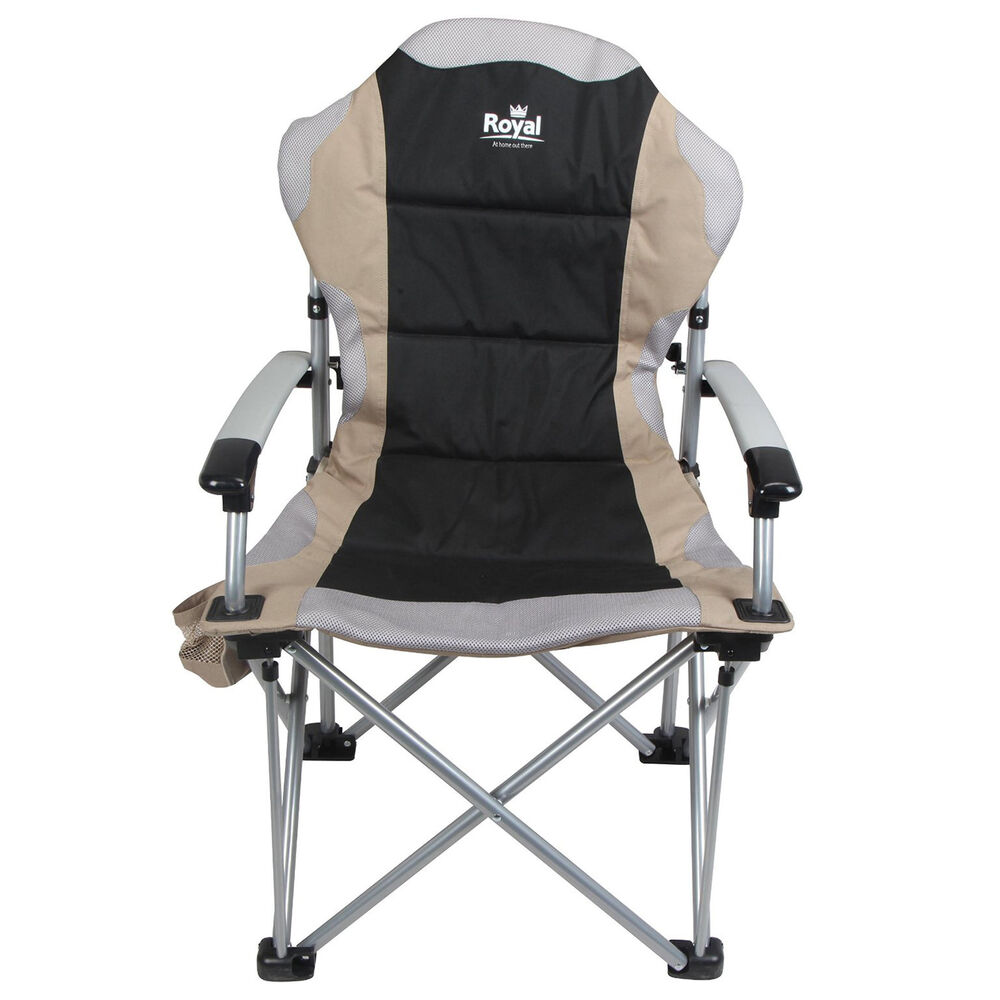 Royal Commander Chair Black Beige Folding Camping Fishing