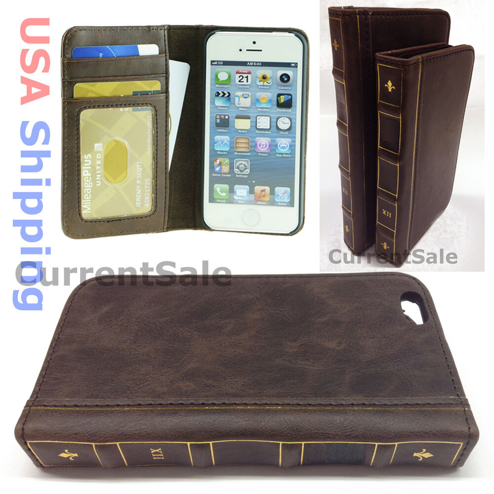 Old Book Case For Iphone : Vintage brown book wallet leather case flip cover antique