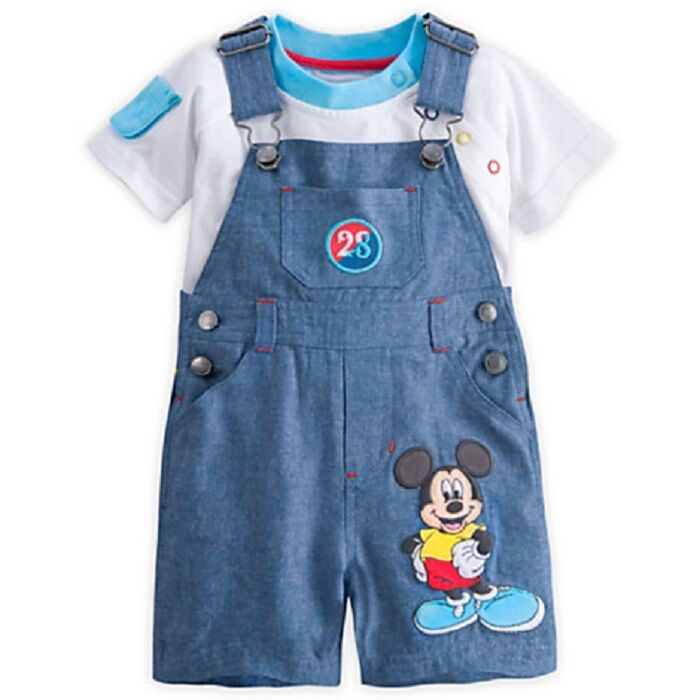 DISNEY STORE MICKEY MOUSE DUNGAREE SHORTS SET FOR BABY NWT ...