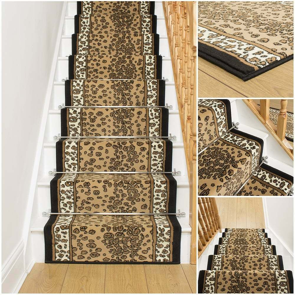 Leopard stair carpet runner for narrow staircase animal for Cheap cheap carpet
