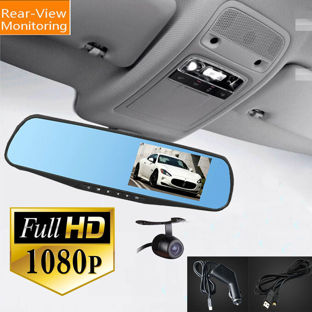 4 3 1080p video recorder dash cam rearview mirror car camera dvr night vision ebay. Black Bedroom Furniture Sets. Home Design Ideas