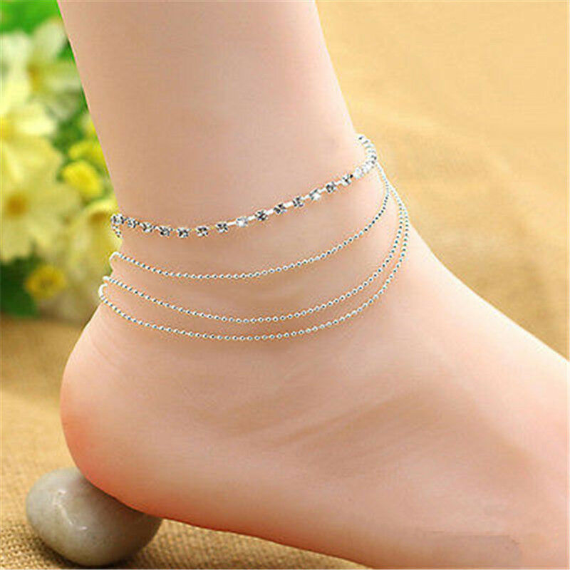 Womens Mutilayer Crystal Beads Anklet Ankle Bracelet Chain ...