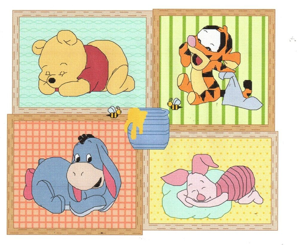 baby pooh cross stitch pattern winnie the pooh ebay. Black Bedroom Furniture Sets. Home Design Ideas
