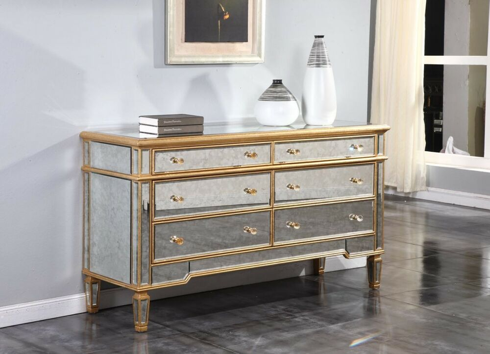 GOLD MIRRORED CONSOLE BUFFET CABINET DRESSER QUALITY