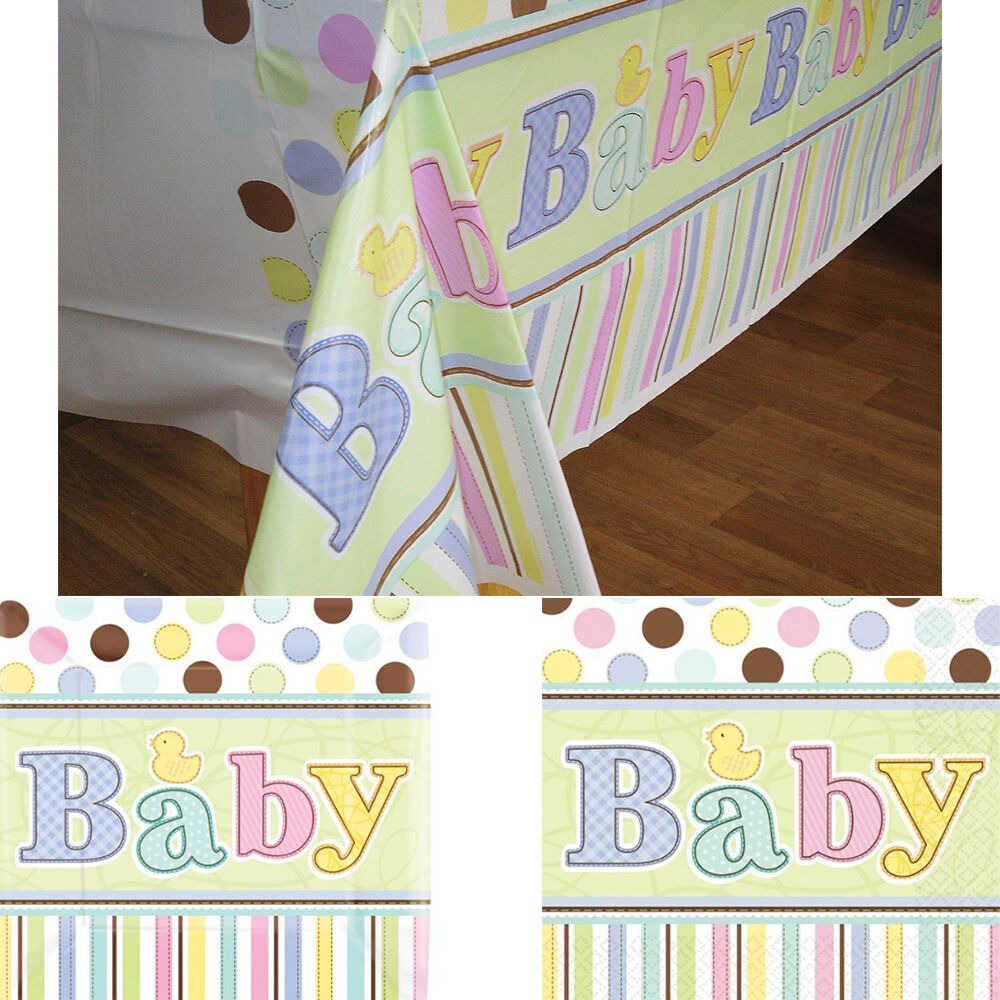 baby shower party tableware square plates napkins tablecover boy girl