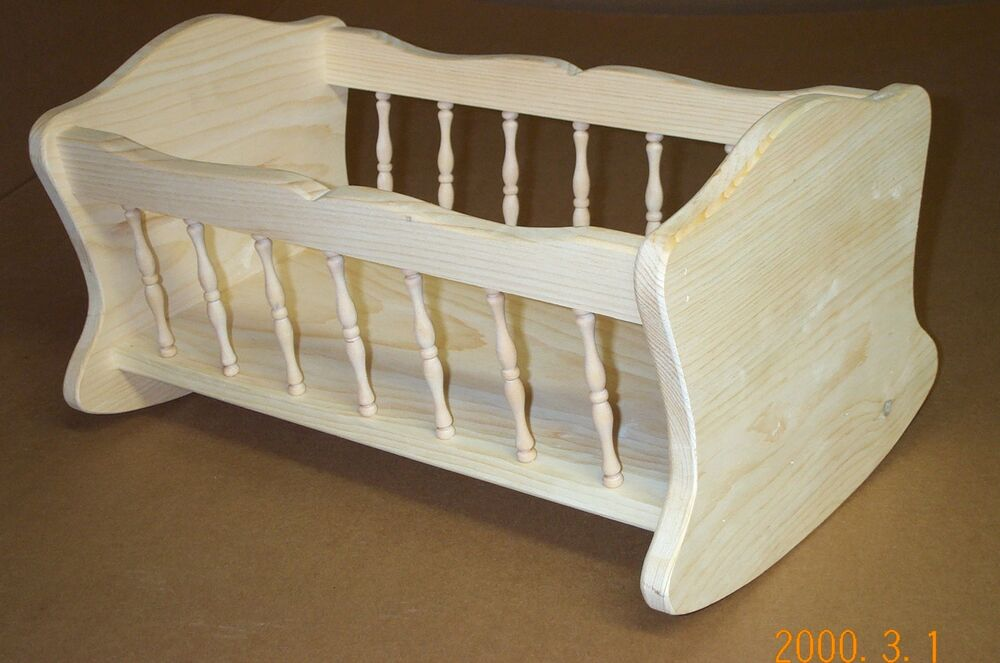 Spindle doll cradle unfinished pine wood rocking baby doll Dark wood baby furniture