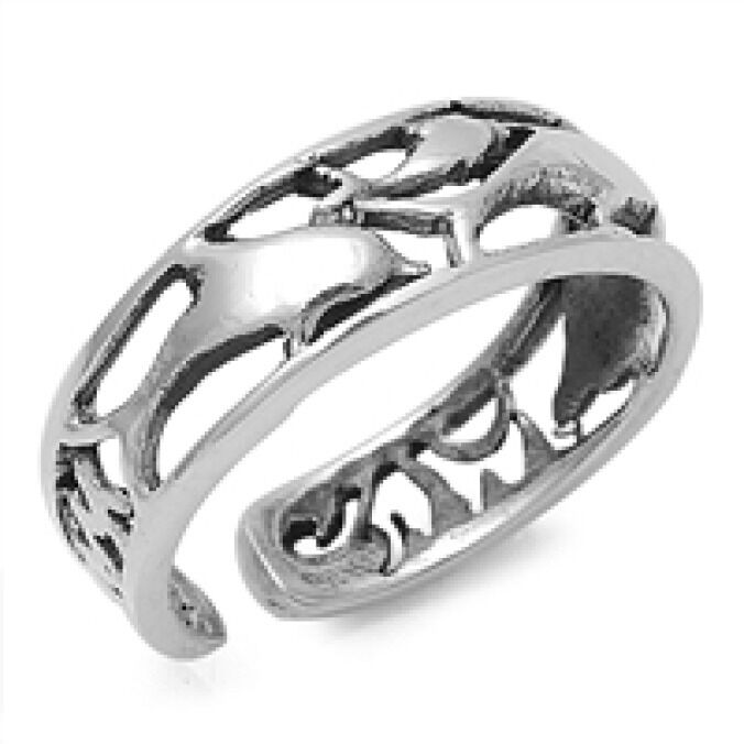 silver adjustable dolphins toe ring sterling silver 925