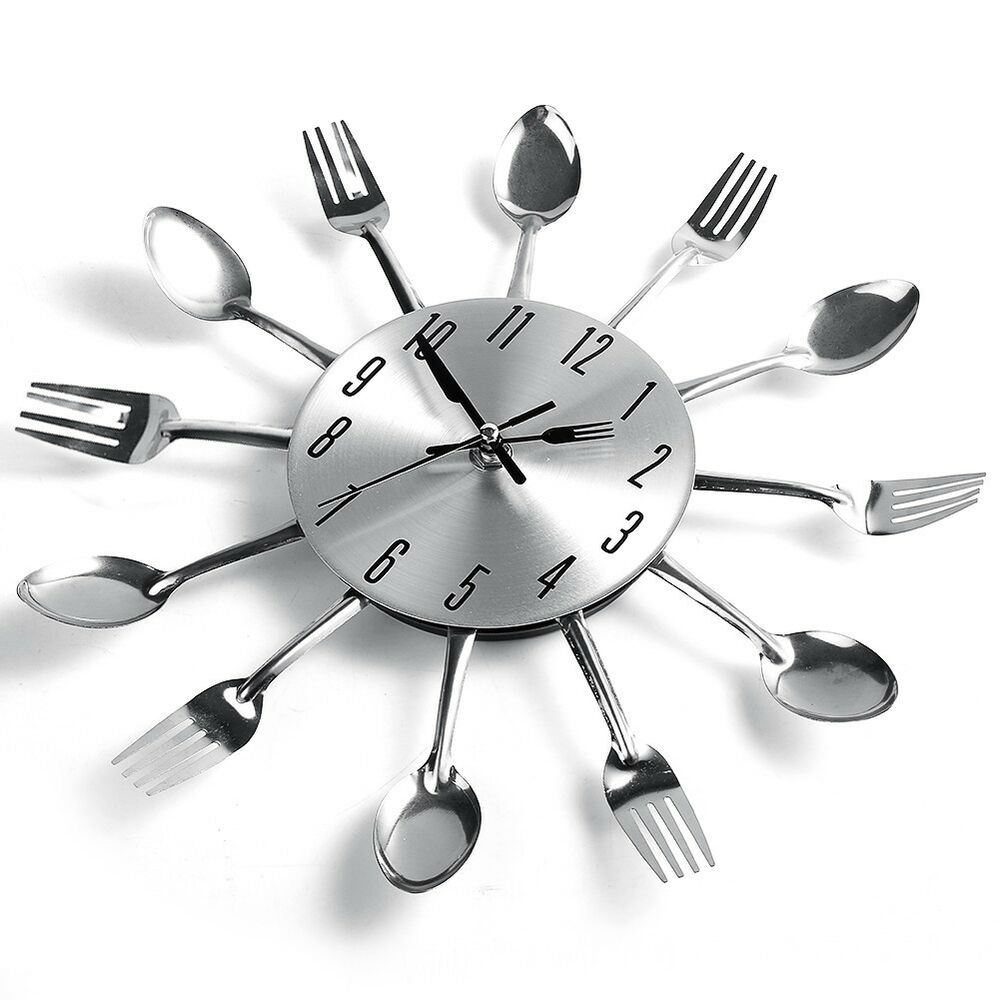 Unique Spoon Fork Clock Design Sliver Cutlery Kitchen