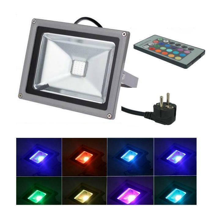 led 50w 230v flutlichtstrahler farbig rgb ip65 gartenstrahler fluter strahler ebay. Black Bedroom Furniture Sets. Home Design Ideas