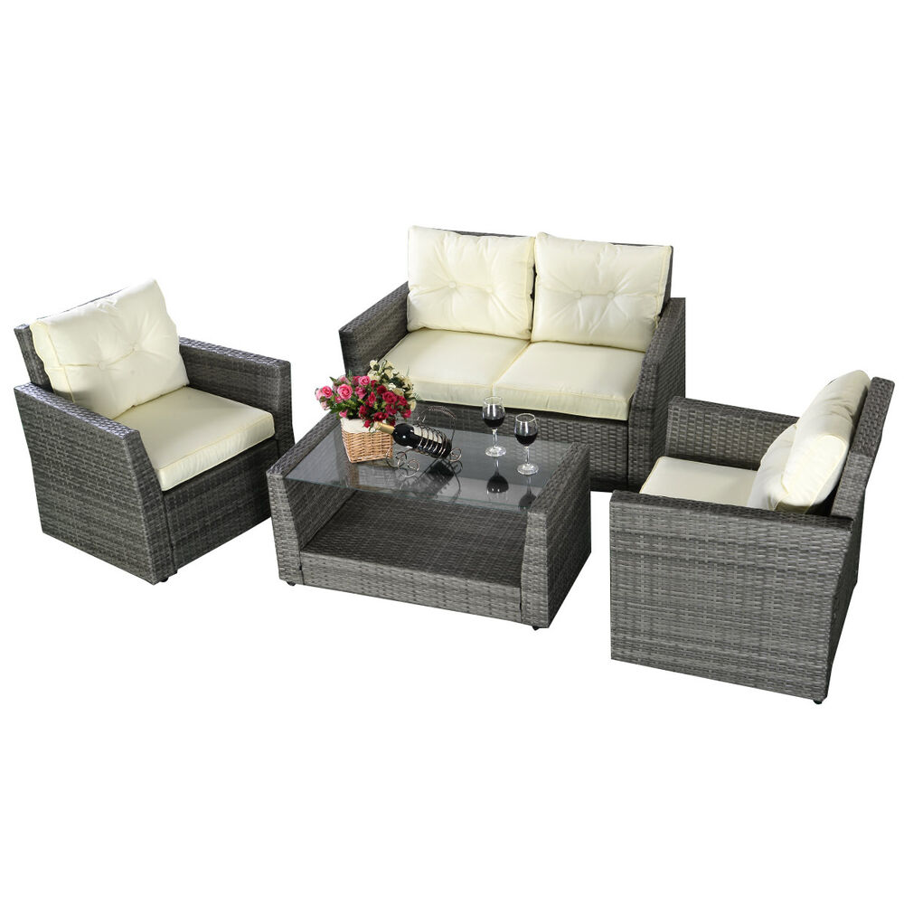 4pc rattan sofa furniture set patio garden lawn cushioned. Black Bedroom Furniture Sets. Home Design Ideas