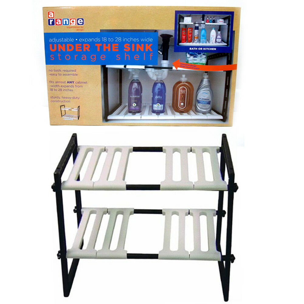 2 Tier Expandable Adjustable Under Sink Shelf Organizer