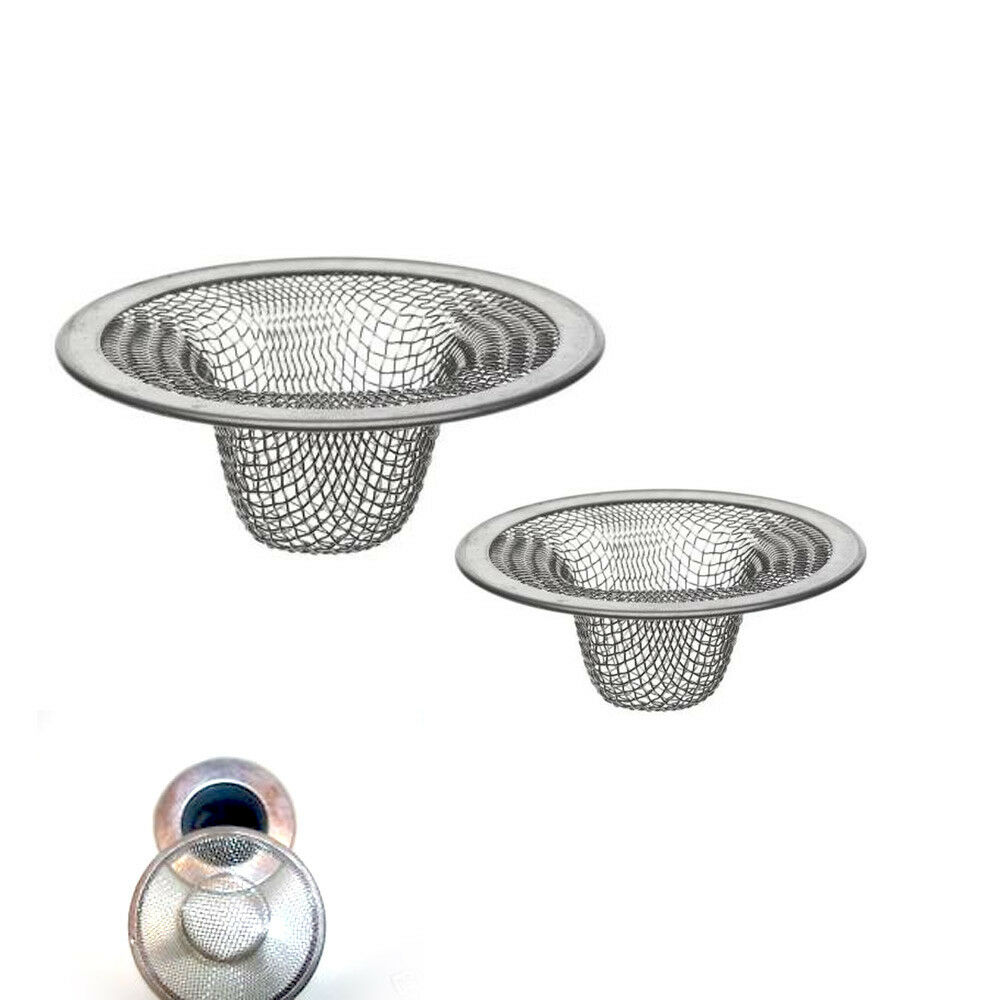 2 Pc Stainless Steel Mesh Sink Strainer Drain Stopper Trap