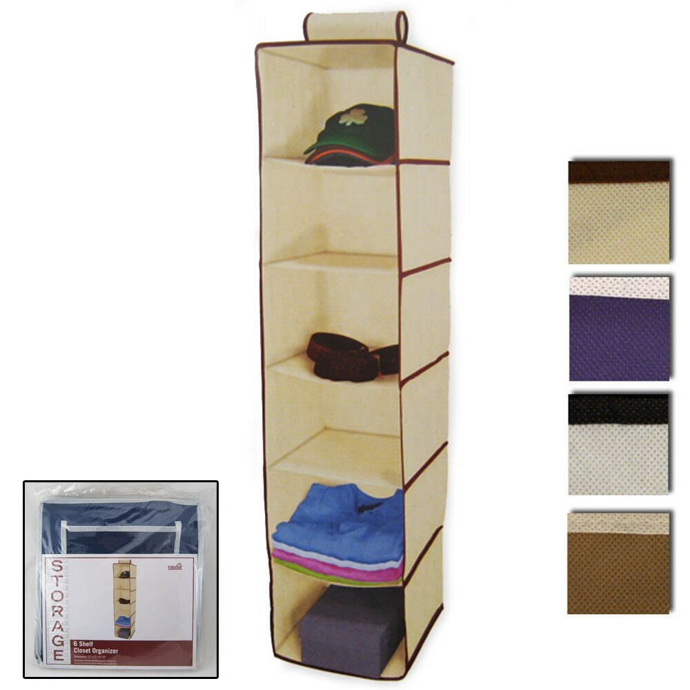 6 Shelf Hanging Wardrobe Sweater Storage Organizer Cloth