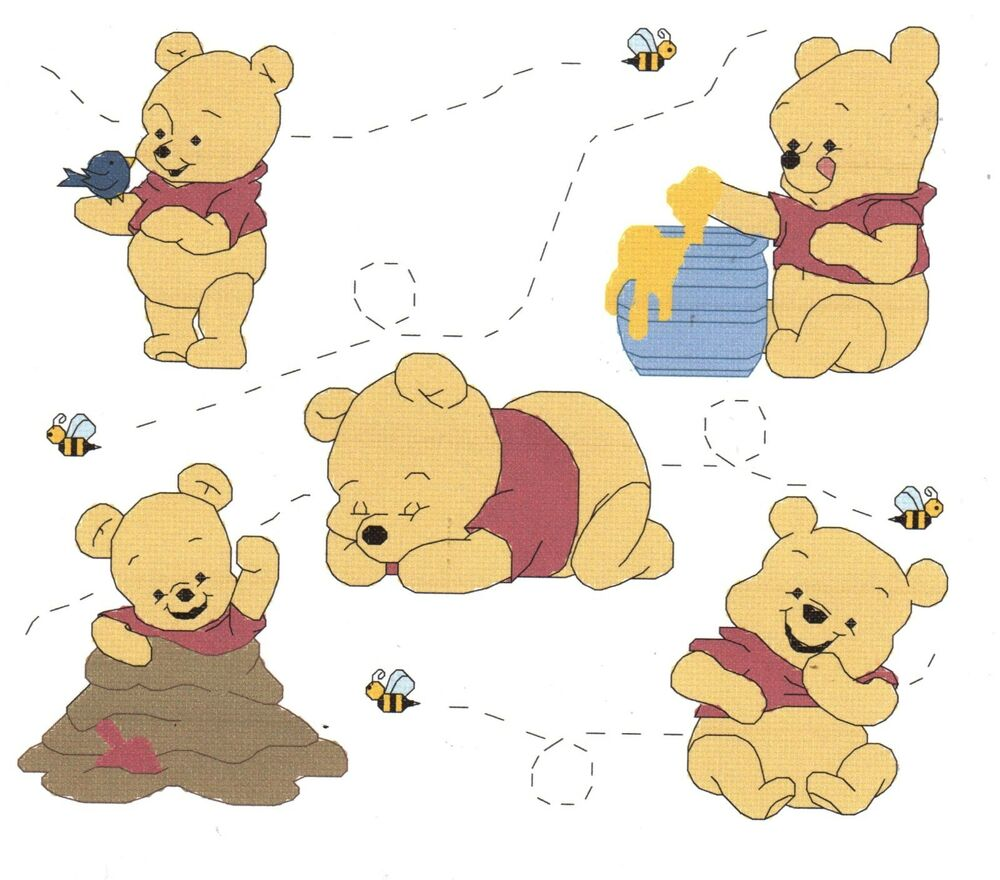 baby pooh collage cross stitch pattern winnie the pooh ebay. Black Bedroom Furniture Sets. Home Design Ideas
