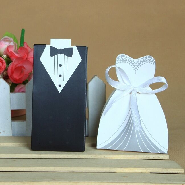 50/100pcs Bride and Groom Dress & Tuxedo Party Wedding Favor Candy ...