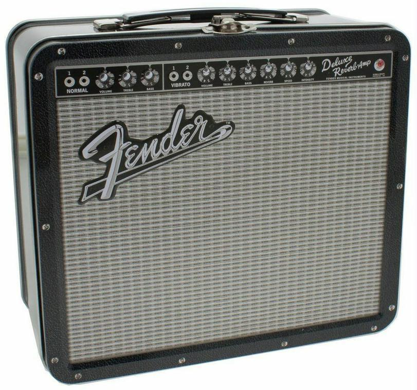 fender deluxe reverb amplifier guitar amp tin metal retro lunchbox musician gift ebay. Black Bedroom Furniture Sets. Home Design Ideas