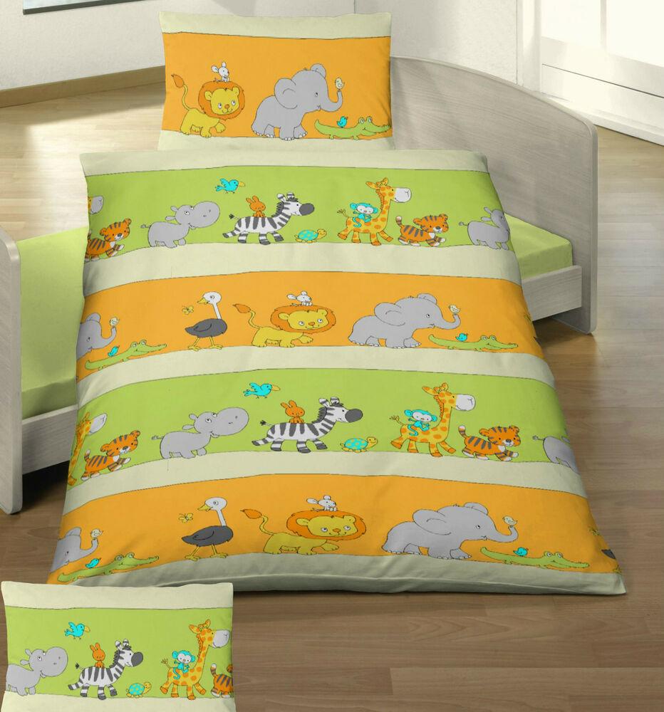 baby bettw sche 100x135 cm elefant krokodil l we co. Black Bedroom Furniture Sets. Home Design Ideas