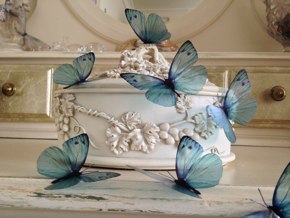 8 teal blue 3d butterflies butterfly picture frame home for Butterfly decorations for home