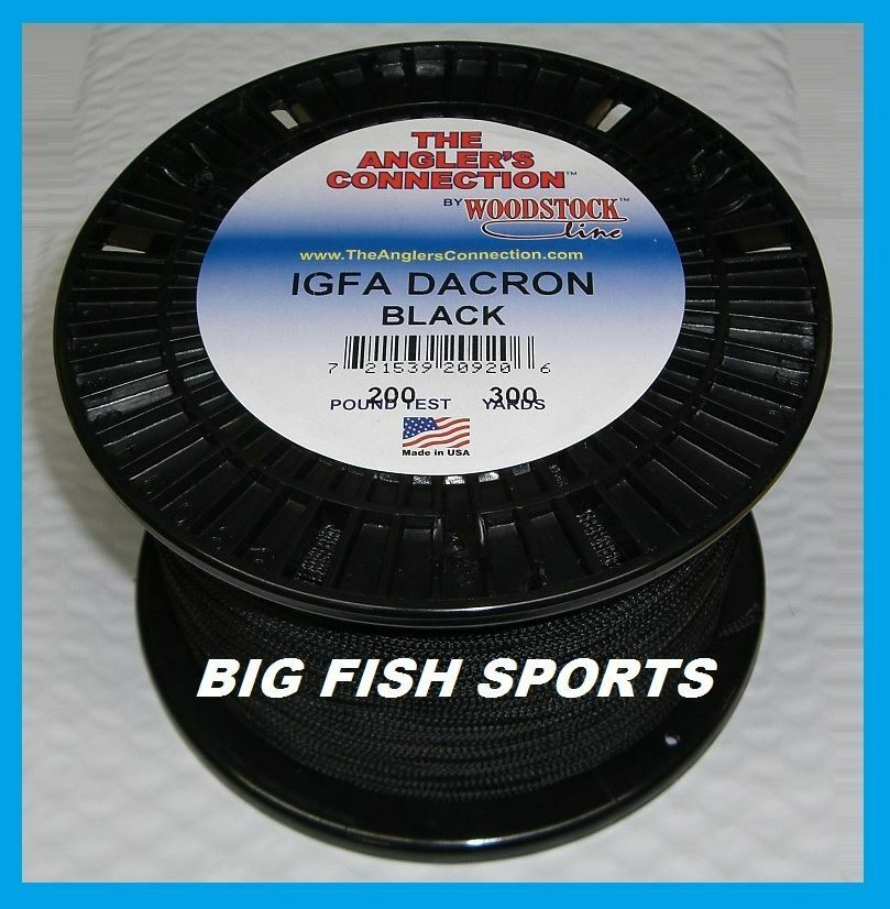 Woodstock braided dacron fishing line black color 200lb for Dacron fishing line