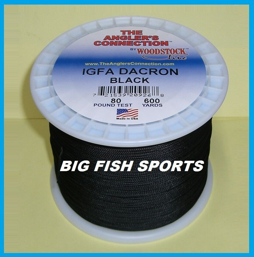 Woodstock braided dacron fishing line black color 80lb for Dacron fishing line