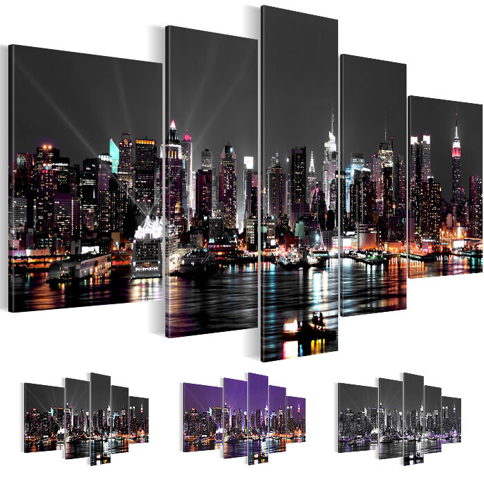 leinwand bilder bild kunstdruck new york skyline lila grau blau 5tlg 6019516 27 ebay. Black Bedroom Furniture Sets. Home Design Ideas