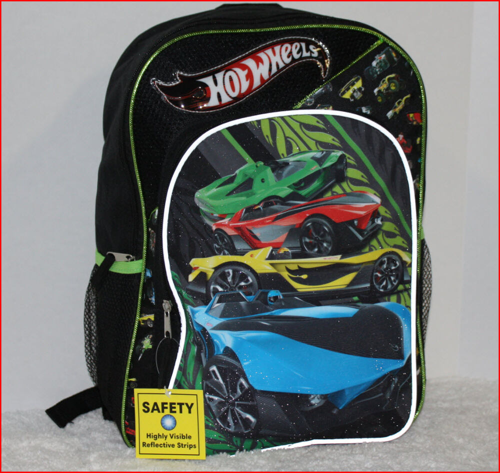 "Hot Wheels Backpack Large 16"" Book Bag Car Racing Black Green New ..."