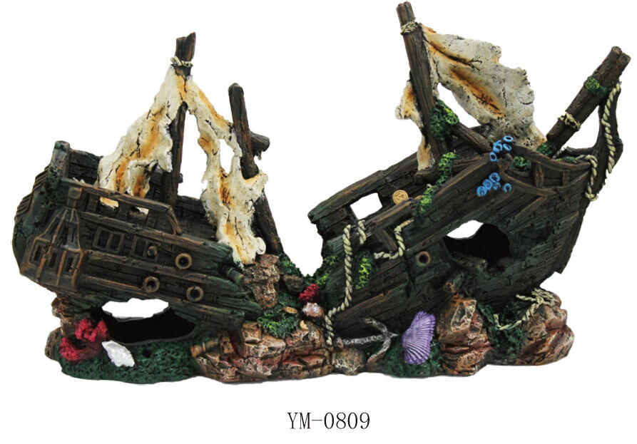 Sunken pirate ship fish tank ornament aquarium decoration for Aquarium decoration ship