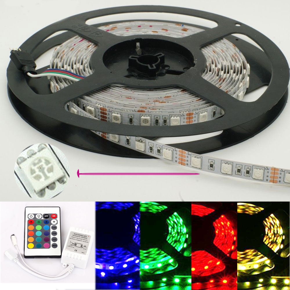 5m 5050 rbg led light strips 300 leds 12v non waterproof 24key led controller ebay. Black Bedroom Furniture Sets. Home Design Ideas