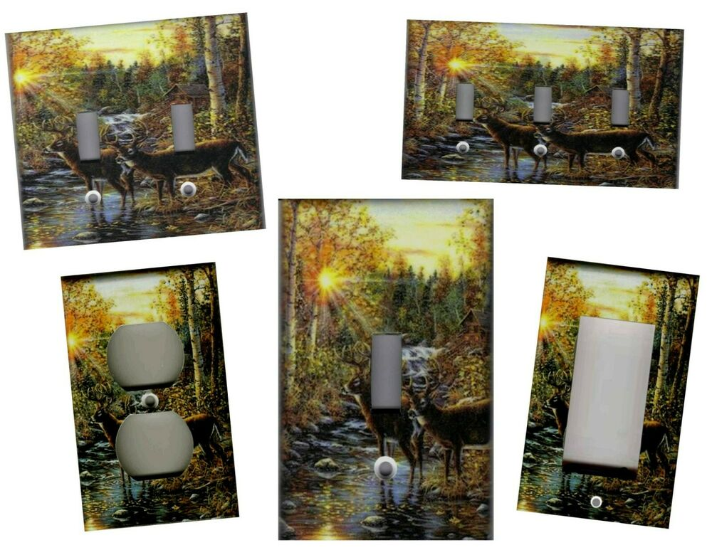 Wall Plates Home Decor : Deer in the woods home wall decor light switch plate