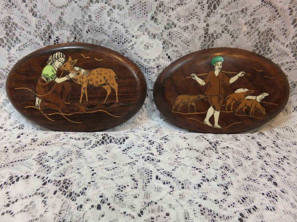 2 Vintage Hand Carved India Wooden Inlay Wood Bone Oval