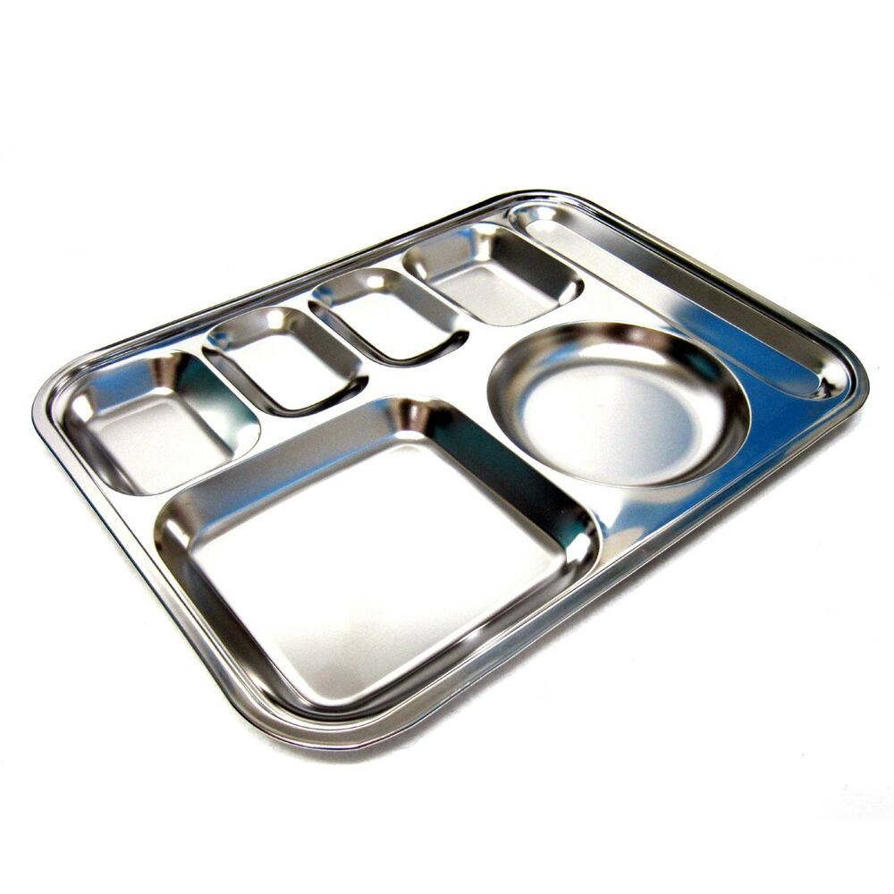 Stainless Steel Diet Plate Divided Dish Portion Platter