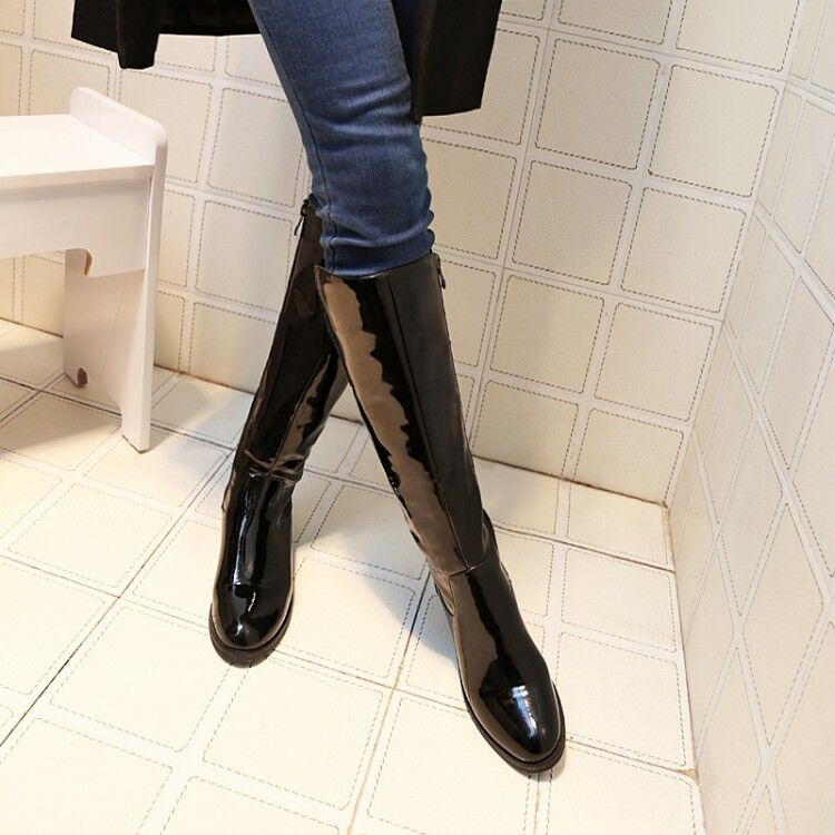 fashion shiny patent leather shoes waterproof snow