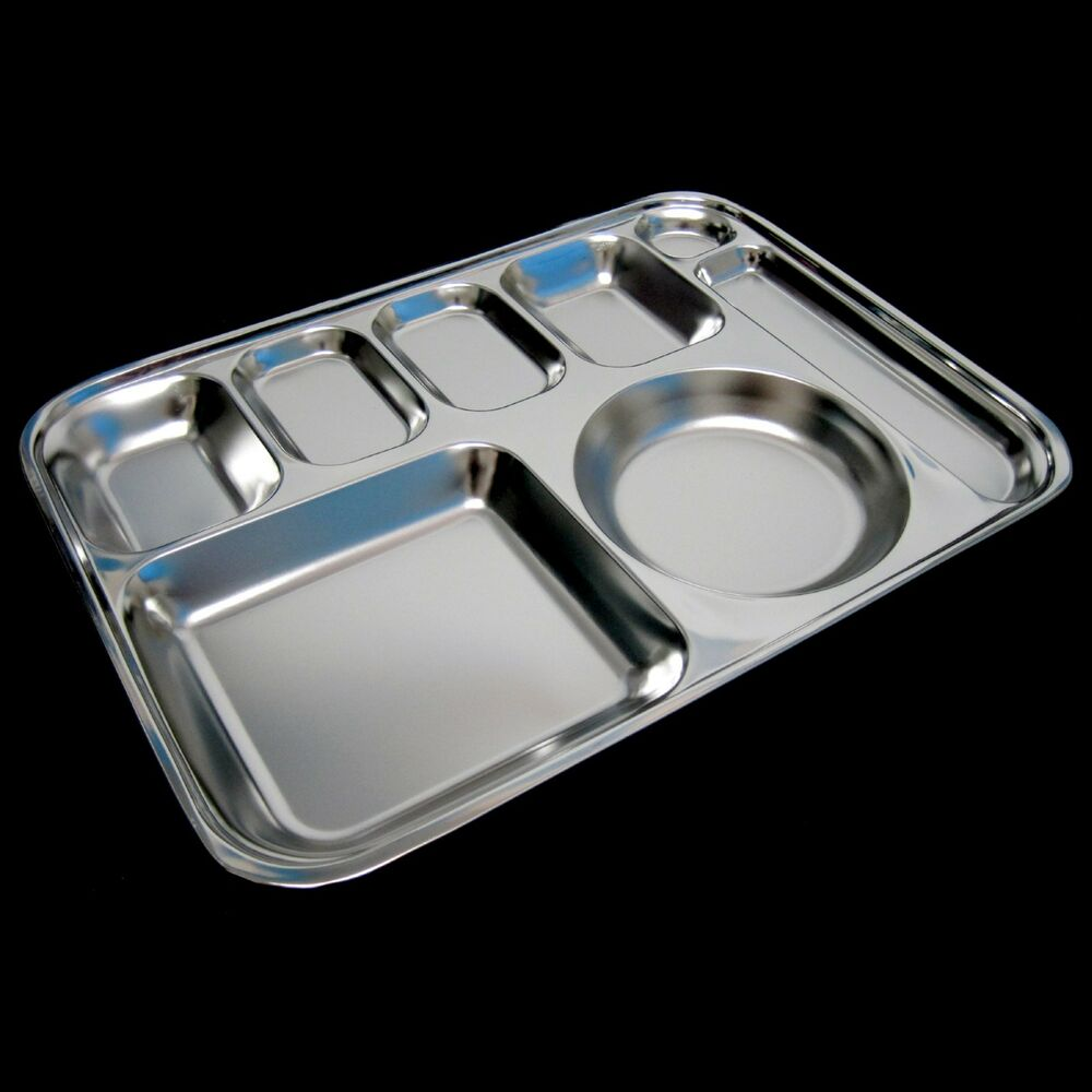 New Sanitary Stainless Steel Meal Plate Food Tray Portion