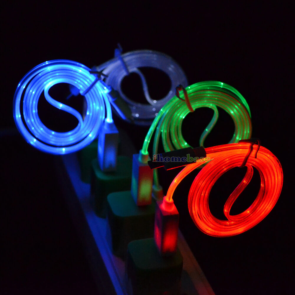micro usb led light charger cable cord for samsung galaxy s7 s6 edge s4 s3 mini ebay. Black Bedroom Furniture Sets. Home Design Ideas