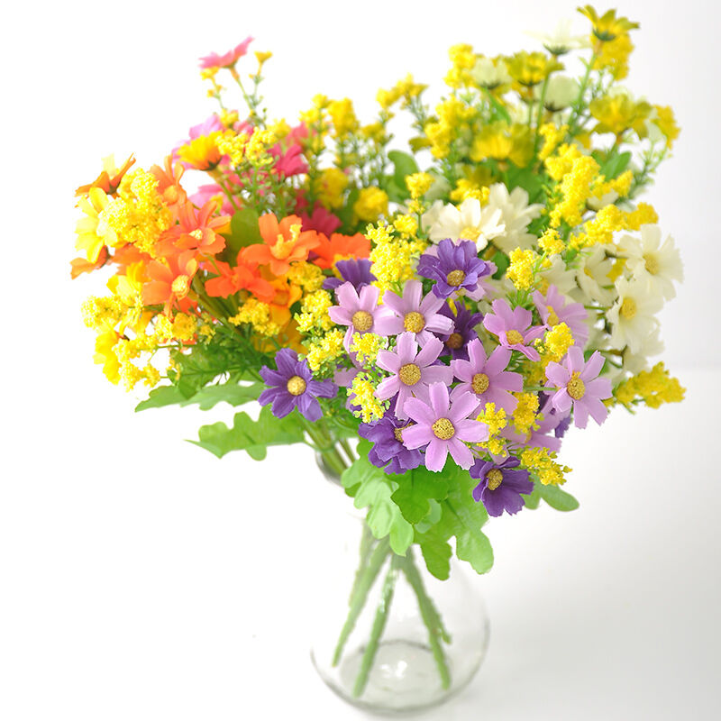1 bunch artificial fake silk daisy flower bouquet home for Artificial flower for wedding decoration