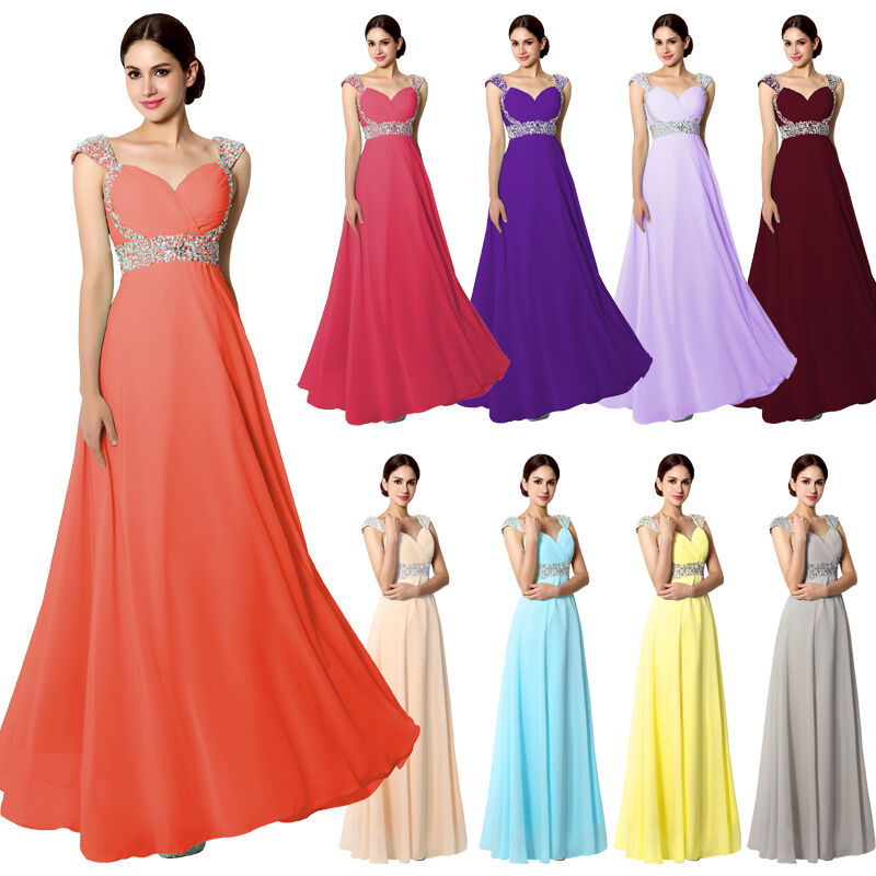 Chiffon long formal wedding party bridesmaid dresses plus for Ebay wedding bridesmaid dresses