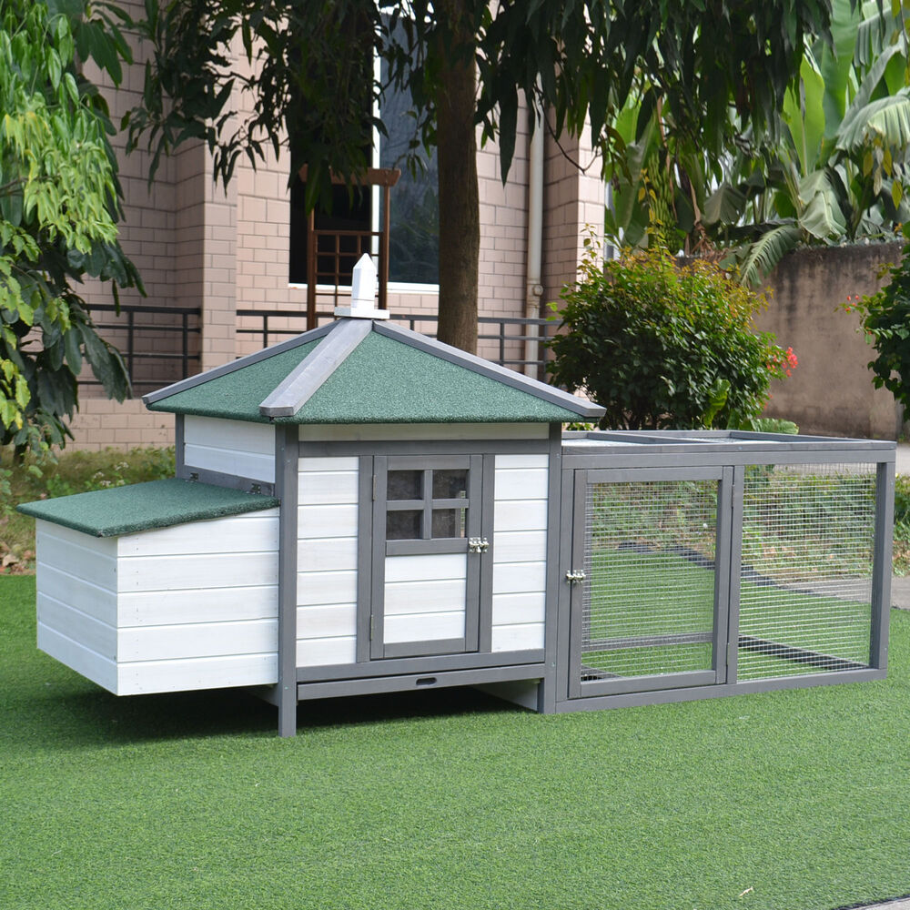 Pawhut deluxe wooden chicken coop hen house nesting box for Portable hen house